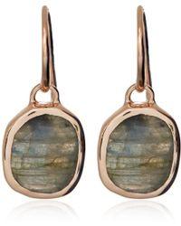 Monica Vinader | Metallic Rose Gold Vermeil Labradorite Siren Wire Earrings | Lyst