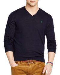 Ralph Lauren - Blue Polo Slim-fit Merino V-neck Sweater for Men - Lyst