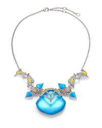 Alexis Bittar | Blue Neon Deco Lucite, Turquoise, Jasper & Crystal Matrix Necklace | Lyst