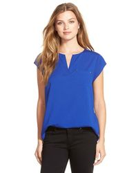 Ivanka Trump | Blue Split Neck Cap Sleeve Top | Lyst
