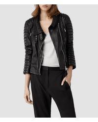 a48435c30b29e AllSaints Steine Leather Biker Jacket in Black - Lyst