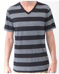 Forever 21 - Black Striped V-Neck Tee - Lyst