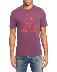 Original Penguin | Purple 'outdoorsy' Graphic Crewneck T-shirt for Men | Lyst