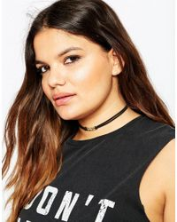 ASOS - Black Chain Link Suede Choker Necklace - Lyst