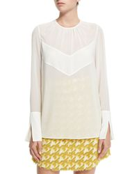 Just Cavalli - White Tie-neck Long-sleeve Blouse - Lyst