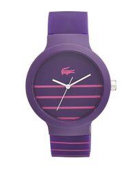 Lacoste - Purple 'goa' Stripe Silicone Strap Watch - Lyst
