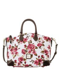 Dooney & Bourke - White Floral Print Coated Cotton Satchel - Lyst