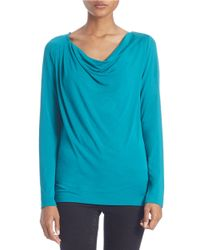 Lord & Taylor | Blue Plus Draped Neck Blouse | Lyst