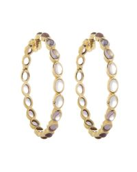 Emily & Ashley | Metallic Gold Large Oval Stone Hoops, Pink Ameythst | Lyst