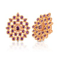 Vara Of London - Purple The Gold Fleur De Chine Ring - Lyst