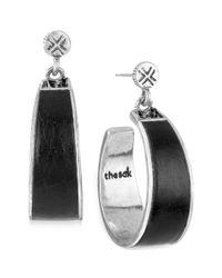The Sak - Metallic Silvertone Black Leather Hoop Drop Earrings - Lyst