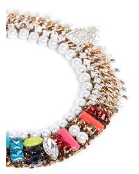 Assad Mounser   Multicolor 'Bette' Rhinestone Fringe Jewel Pearl Collar Necklace   Lyst