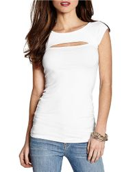 Guess - White Cutout Stretch Cotton Top - Lyst