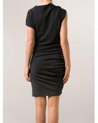 Lanvin - Gray Fitted Drape Dress - Lyst