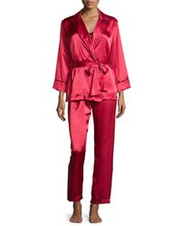 Oscar de la Renta | Red Charmeuse 3-piece Pajama Set | Lyst