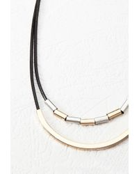 Forever 21 | Black Curved Bar Pendant Necklace | Lyst