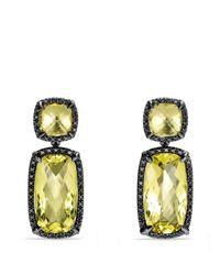 David Yurman | Yellow Chatelaine Lemon Citrine and Black Diamond Double-Drop Earrings | Lyst
