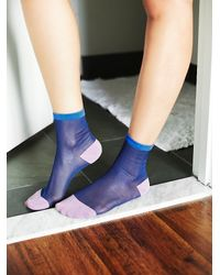 Free People | Blue Womens Anastasia Sheer Crew Sock | Lyst