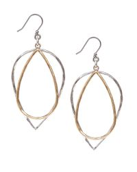 Lucky Brand | Metallic Twotone Double Hoop Earrings | Lyst