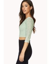 Forever 21 - Green Be Seen Open-Knit Crop Top - Lyst