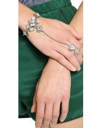 Auden - Metallic Crystal Hand Chain Cleargold - Lyst