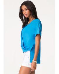 Bebe | Blue Short Sleeve Wrap Top | Lyst