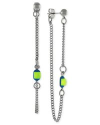 BCBGeneration - Metallic Silver-Tone Enamel Stone And Chain Front-Back Earrings - Lyst