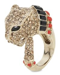 Roberto Cavalli | Metallic Gold Plated Swarovski Crystal Panther Ring | Lyst