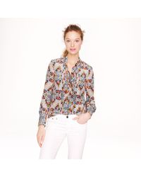 J.Crew | Blue Collection Secretary Blouse in Misty Fog Floral | Lyst