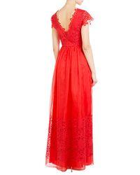 Alberta Ferretti   Silk-cotton Gown With Lace - Red   Lyst