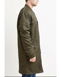 Forever 21 | Green Zippered Longline Bomber Jacket for Men | Lyst