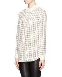 Equipment | Natural Reese Grid Print Silk Shirt | Lyst