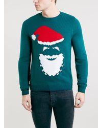 TOPMAN - Blue Santa Face Xmas Crew Sweater for Men - Lyst