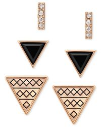 Guess | Pink Gold-tone Trio Earring Set | Lyst