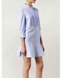 Nina Ricci - Blue Ribbed Bib Shirt Dress - Lyst