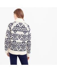 J.Crew | Blue Abstract Fair Isle Zip Cardigan Sweater | Lyst