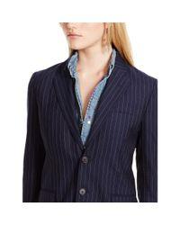 Polo Ralph Lauren | Blue Pinstriped Wool Jacket | Lyst