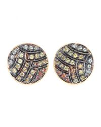 Ileana Makri - Metallic Deco Life 18kt Yellow Gold Stud Earrings with Orange Yellow and Green Sapphires - Lyst