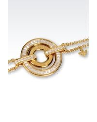 Emporio Armani - Metallic Bracelet In Gold-Plated Silver And Cz Stones - Lyst