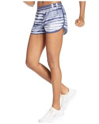 Under Armour - Blue Ua Printed Perfect Pace Shorts - Lyst