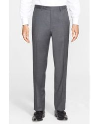 Canali - Gray Flat Front Solid Wool Trousers for Men - Lyst