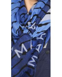 Marc By Marc Jacobs | Bolt Stripe Concentric Square Scarf - True Blue Multi | Lyst