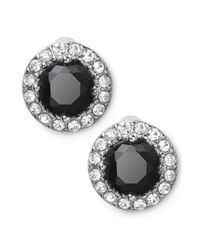 Lauren by Ralph Lauren | Metallic Silvertone Round Faceted Jet Glass Stone Stud Earrings | Lyst