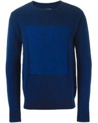 Oliver Spencer - Blue Intarsia Knit Crew Neck Sweater for Men - Lyst