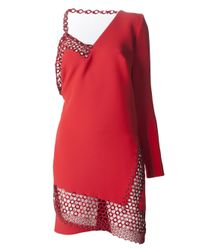 Anthony Vaccarello - Red Asymmetrical Metal Panel Dress - Lyst
