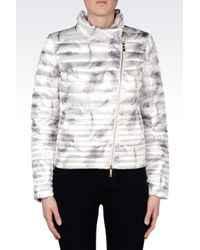 EA7   White Down Jacket With Fur Collar   Lyst
