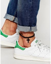 ASOS - Anklet With Cross In Black for Men - Lyst