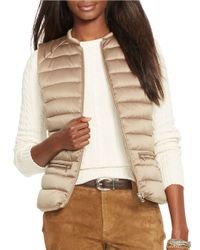 Lauren by Ralph Lauren | Natural Petite Metallic Satin Down Vest | Lyst