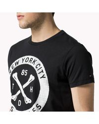 Tommy Hilfiger | Black Cotton Printed T-shirt for Men | Lyst