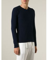 Emporio Armani - Blue Ribbed Knit Sweater for Men - Lyst